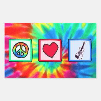Paz, amor, violines pegatina rectangular