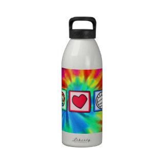 Paz, amor, voleibol botella de agua reutilizable
