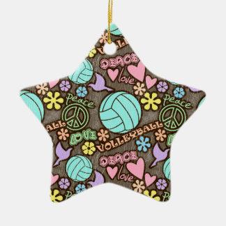 Paz, amor, voleibol ornaments para arbol de navidad