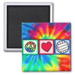 Paz, amor, voleibol imán de frigorifico