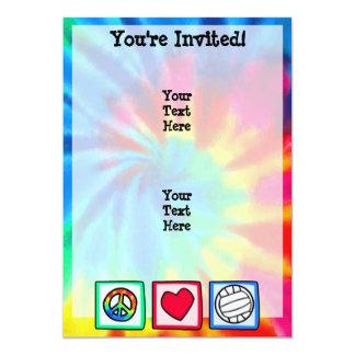 Paz, amor, voleibol invitación 12,7 x 17,8 cm