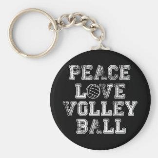 Paz, amor, voleibol llavero redondo tipo pin