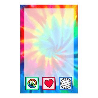 Paz, amor, voleibol papeleria personalizada