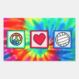 Paz, amor, voleibol rectangular pegatina