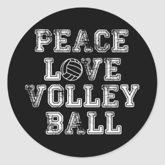 Paz, amor, voleibol pegatina redonda