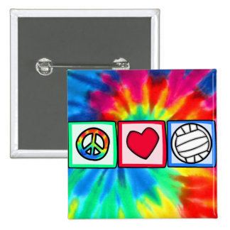 Paz, amor, voleibol pin cuadrada 5 cm