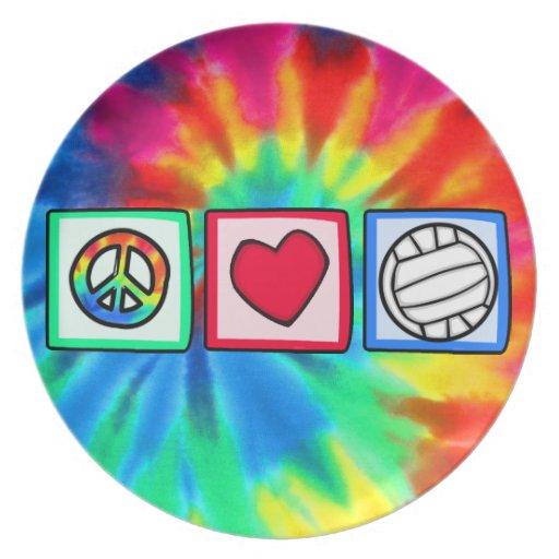 Paz, amor, voleibol plato de cena