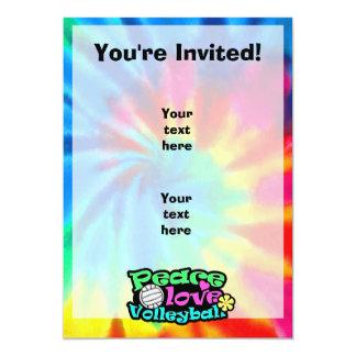 """Paz, amor, voleibol; Retro Invitación 5"""" X 7"""""""