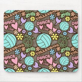Paz, amor, voleibol alfombrilla de ratón