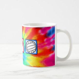 Paz, amor, voleibol tazas