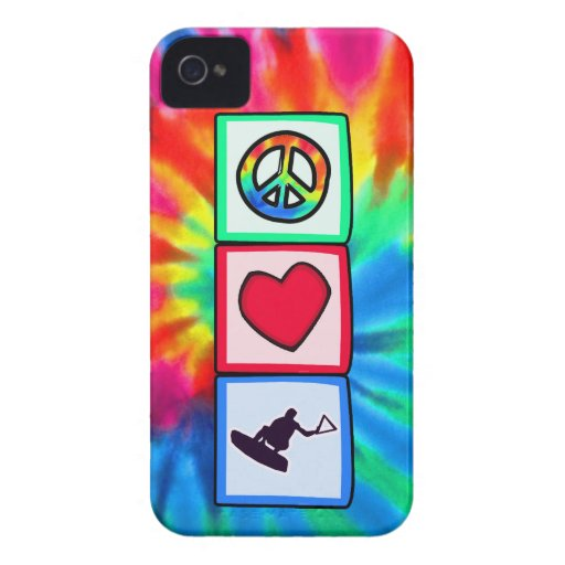 Paz, amor, Wakeboarding iPhone 4 Case-Mate Protectores