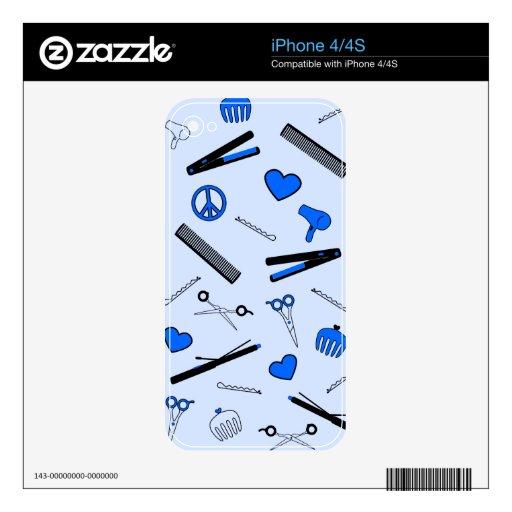 Paz, amor, y accesorios del pelo (azul brillante) iPhone 4S calcomanías