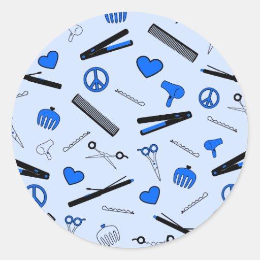 Paz, amor, y accesorios del pelo (azul brillante) pegatina redonda