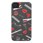 Paz, amor, y accesorios del pelo (oscuridad roja) Case-Mate iPhone 4 carcasa