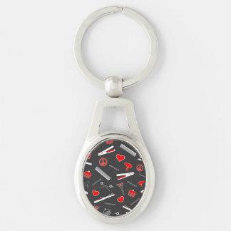 Paz, amor, y accesorios del pelo (oscuridad roja) llavero plateado ovalado
