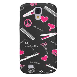 Paz, amor, y accesorios del pelo (oscuridad rosada funda para galaxy s4
