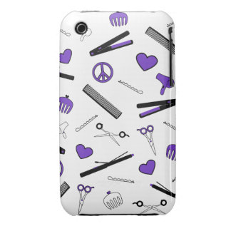 Paz, amor, y accesorios del pelo (púrpuras) iPhone 3 protector