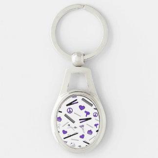 Paz, amor, y accesorios del pelo (púrpuras) llavero plateado ovalado