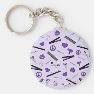 Paz, amor, y accesorios del pelo (púrpuras) llavero redondo tipo pin