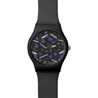 Paz, amor, y accesorios del pelo (púrpuras) relojes de mano