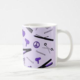 Paz, amor, y accesorios del pelo (púrpuras) taza