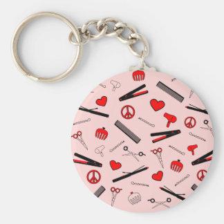 Paz, amor, y accesorios del pelo (rojos) llavero redondo tipo pin
