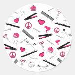 Paz, amor, y accesorios del pelo (rosa) etiquetas redondas