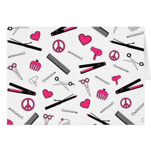 Paz, amor, y accesorios del pelo (rosa) tarjetas
