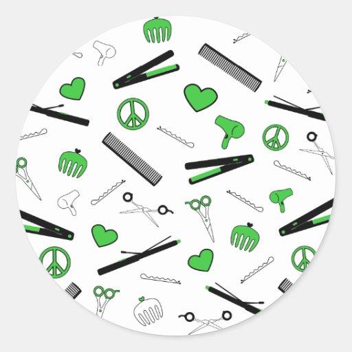 Paz, amor, y accesorios del pelo (verde) etiqueta