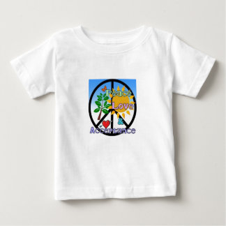 Paz, amor, y aceptación/signo de la paz playera de bebé