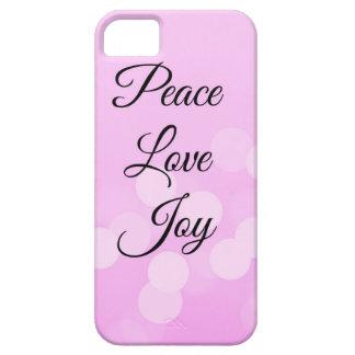 Paz, amor y alegría con el fondo rosado en el funda para iPhone SE/5/5s