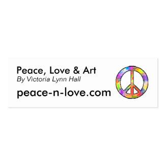 Paz, amor y arte promocionales tarjetas de visita mini