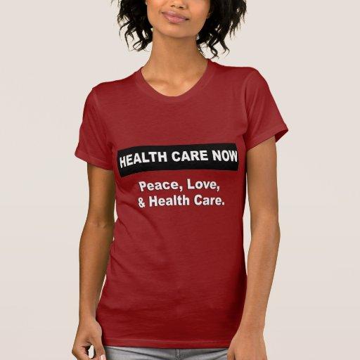 Paz, amor, y atención sanitaria camisetas