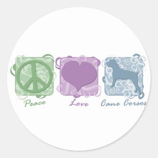 Paz, amor, y bastón en colores pastel Corsos Pegatina Redonda