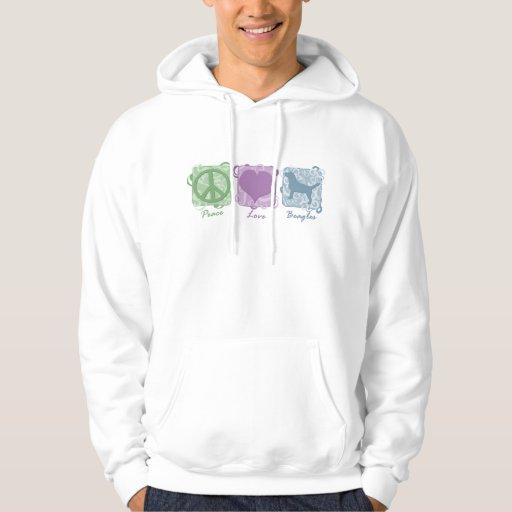 Paz, amor, y beagles en colores pastel jersey encapuchado