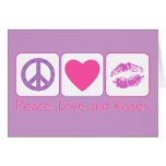Paz, amor y besos tarjetas