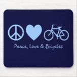 Paz, amor y bicicletas Mousepad Tapete De Ratón