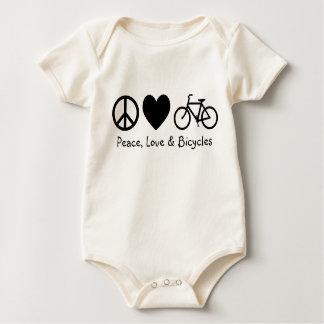 Paz, amor y bicicletas trajes de bebé