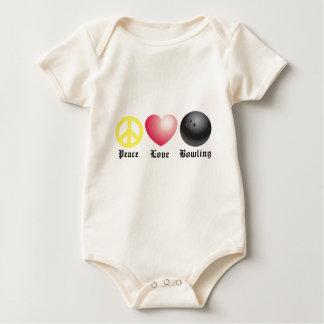 Paz, amor, y bolos trajes de bebé
