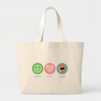 Paz, amor y bolso del sushi bolsa