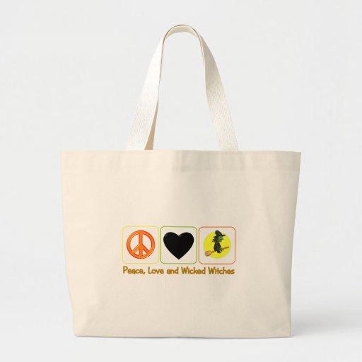 Paz, amor y brujas traviesas bolsa tela grande