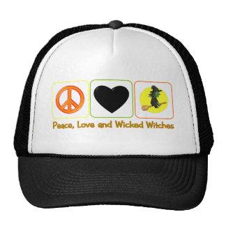 Paz, amor y brujas traviesas gorro de camionero