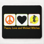 Paz, amor y brujas traviesas tapetes de raton