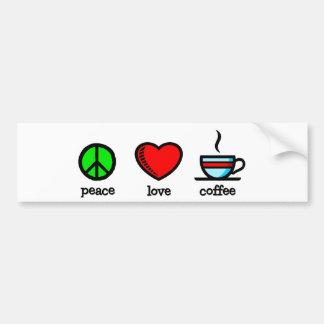 Paz, amor y café - pegatina para el parachoques pegatina para auto