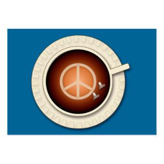 paz, amor y café tarjetas de visita grandes