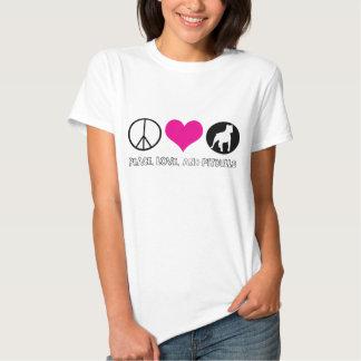Paz, amor, y camiseta de las señoras de Pitbulls Playera