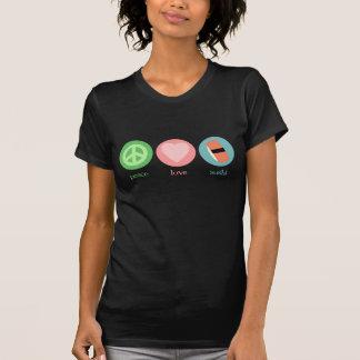 Paz, amor y camiseta del sushi playera