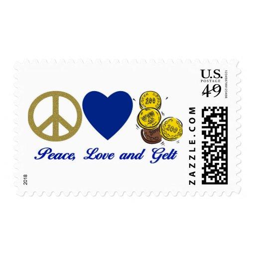 Paz, amor y camisetas y regalos de Gelt Jánuca Estampillas