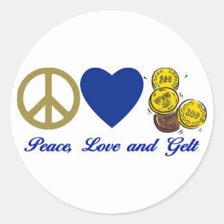 Paz, amor y camisetas y regalos de Gelt Jánuca Pegatina Redonda