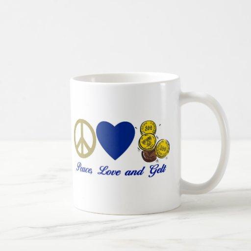 Paz, amor y camisetas y regalos de Gelt Jánuca Tazas De Café